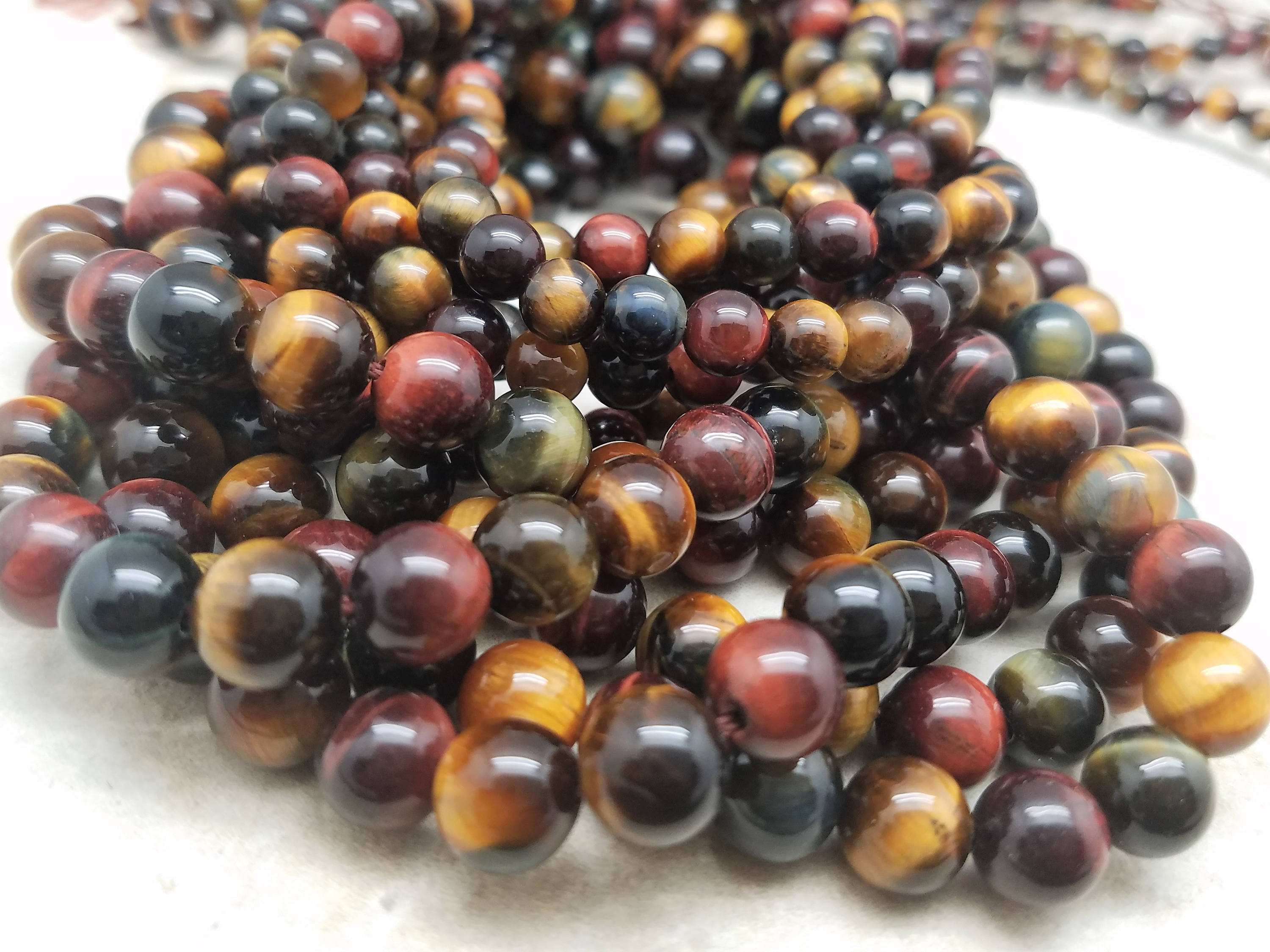 6mm or 8mm Red and Yellow Tiger Eye Polished Round Beads, Grade A, 15 inch