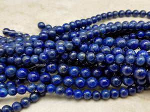 4mm or 6mm or 8mm Lapis Lazuli Polished Round Beads, 15 inch