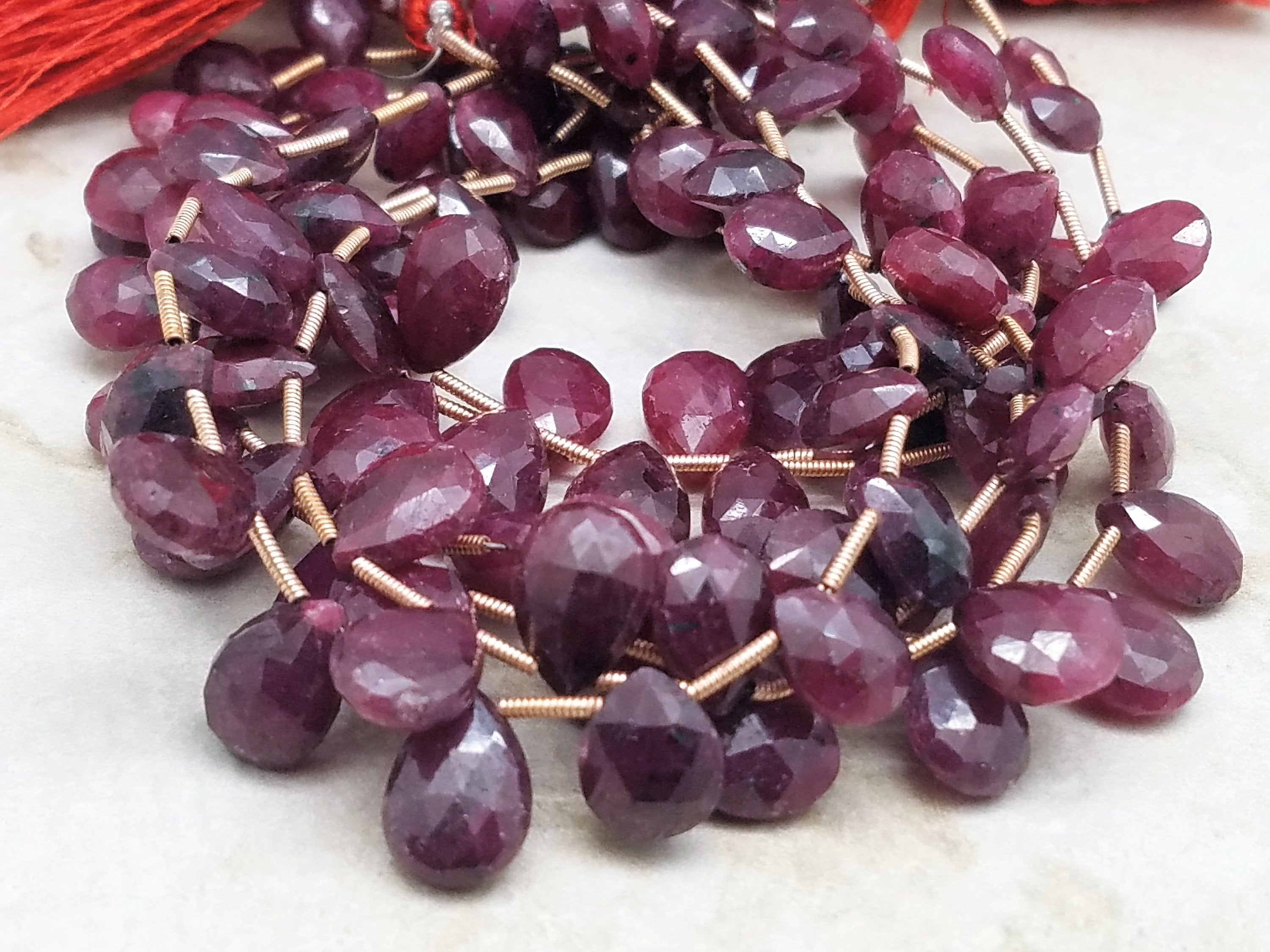 Graduated Ruby Faceted Briolettes, Heart or Pear Shape  (Lot A)