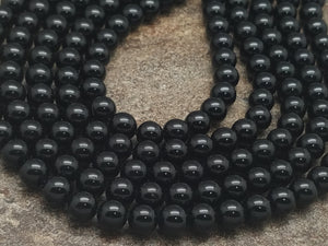 4mm or 6mm or 8mm Black Tourmaline Polished Round Beads, A Grade, 14 inch