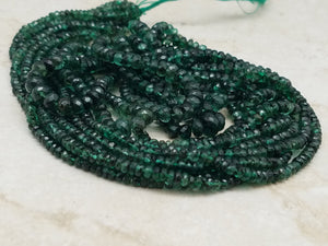 Graduated 2.5mm to 4mm Zambian Emeralds Faceted Rondelles, 19 inch