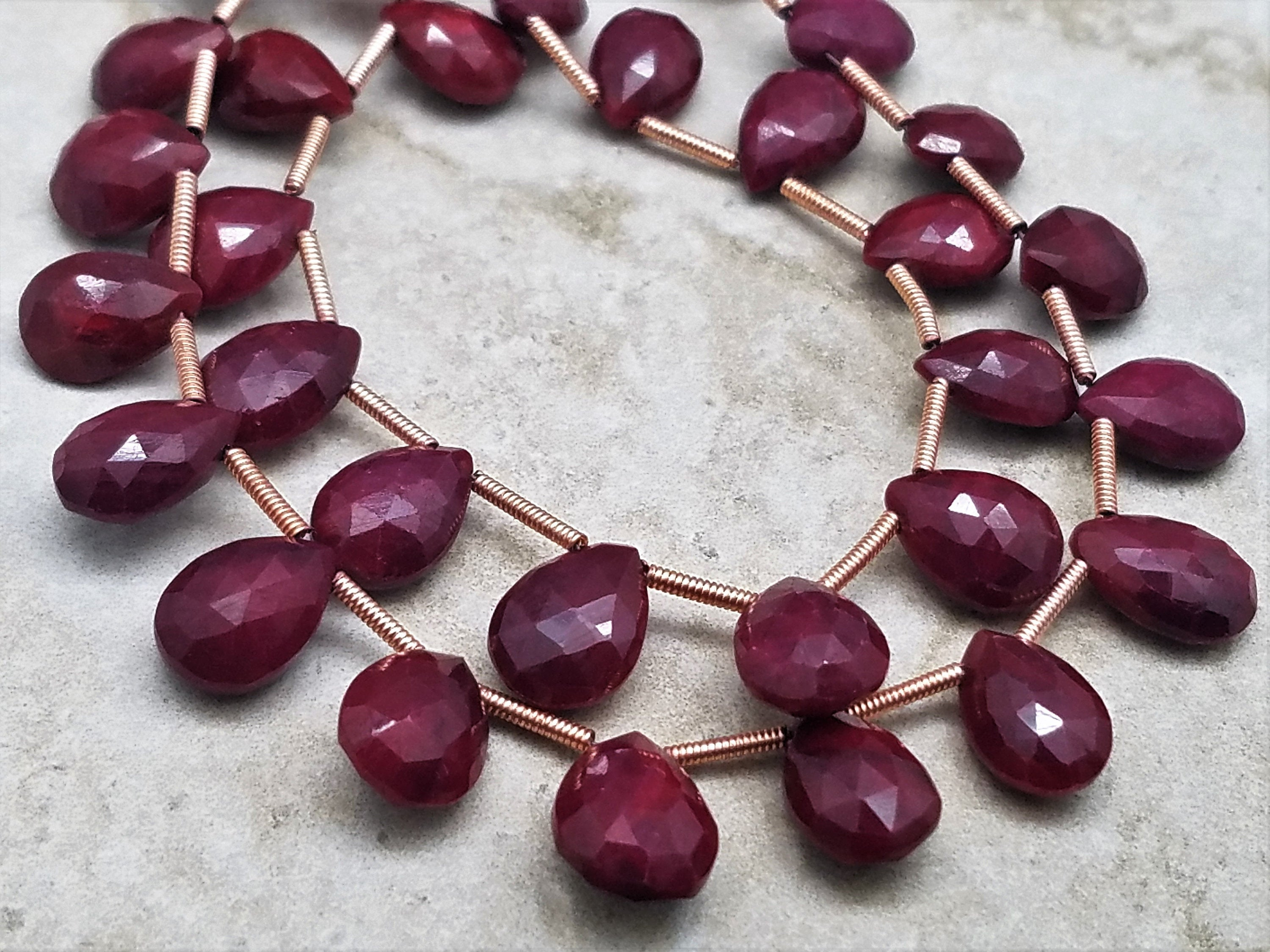 Graduated Dark Ruby Briolettes, Faceted Pear Shape Lot B