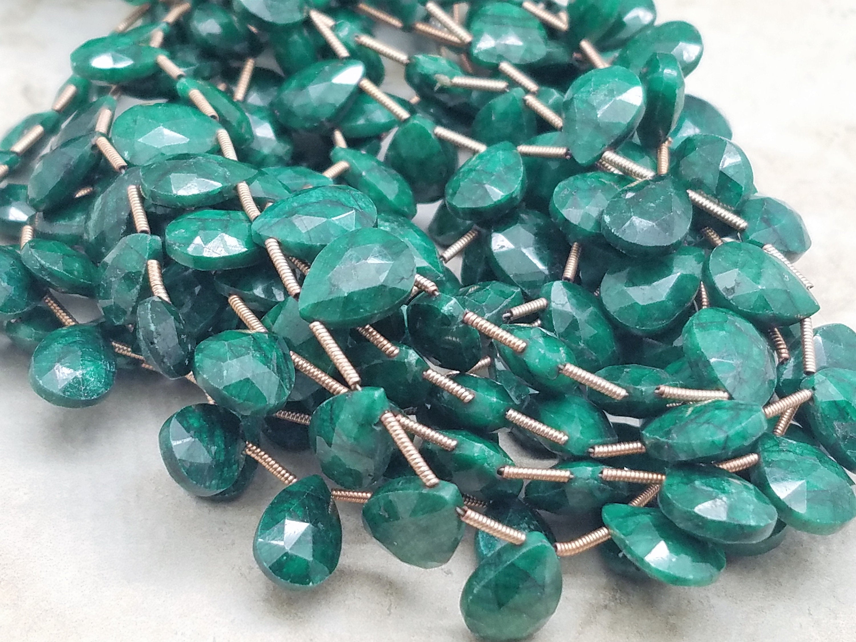 Graduated Emerald Faceted Briolettes, Pear or Heart Shape   (Lot A)