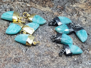 Amazonite Horn Electroplated Gold or Black Rhodium Pendants , 8 x 12 mm