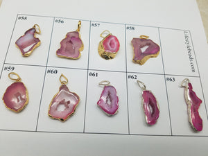Pink Druzy Pendants with Gold & Silver Plating / Design 55 - 63