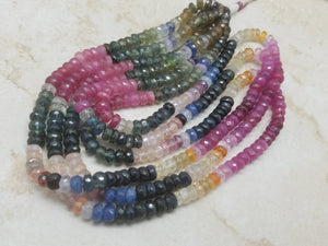 5mm Rainbow Sapphire Faceted Rondelles, 15 inch