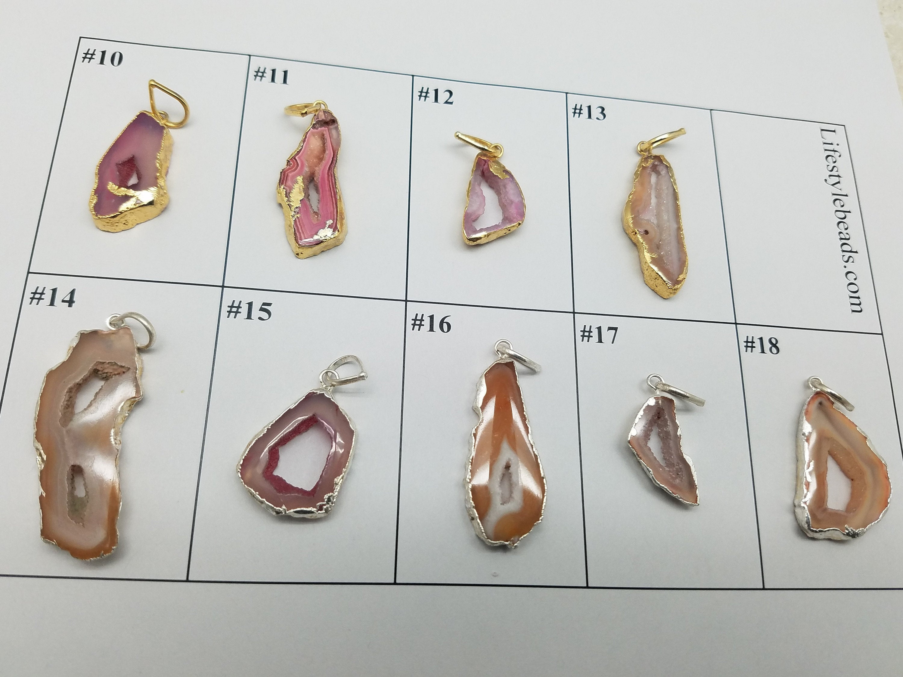 Druzy Pendants with Gold & Silver Plating / Design 10 - 18