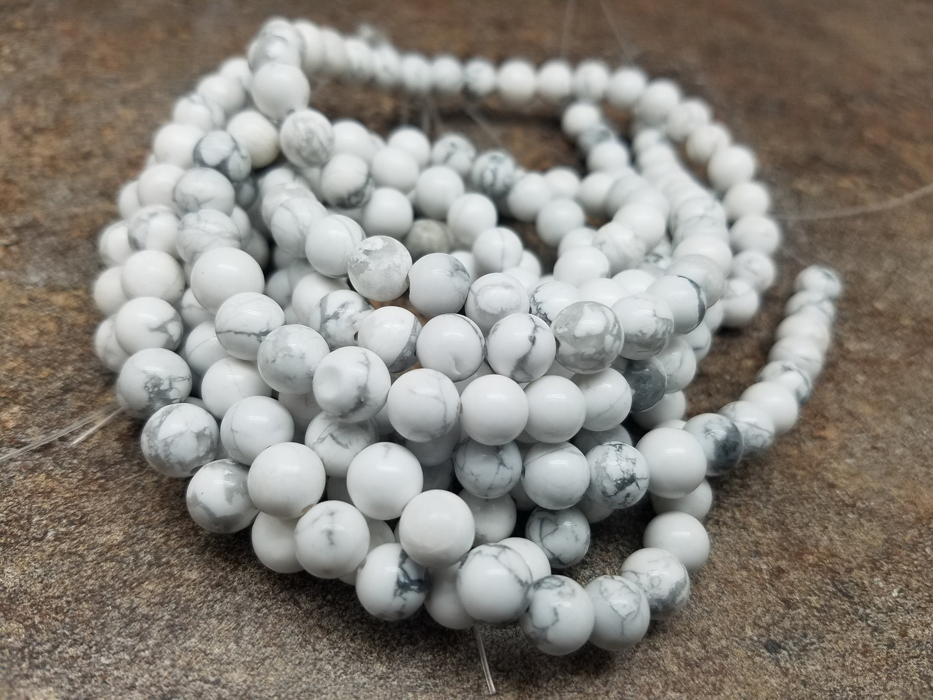 4mm or 6mm or 8mm Howlite Polished Round Beads, 15 inch