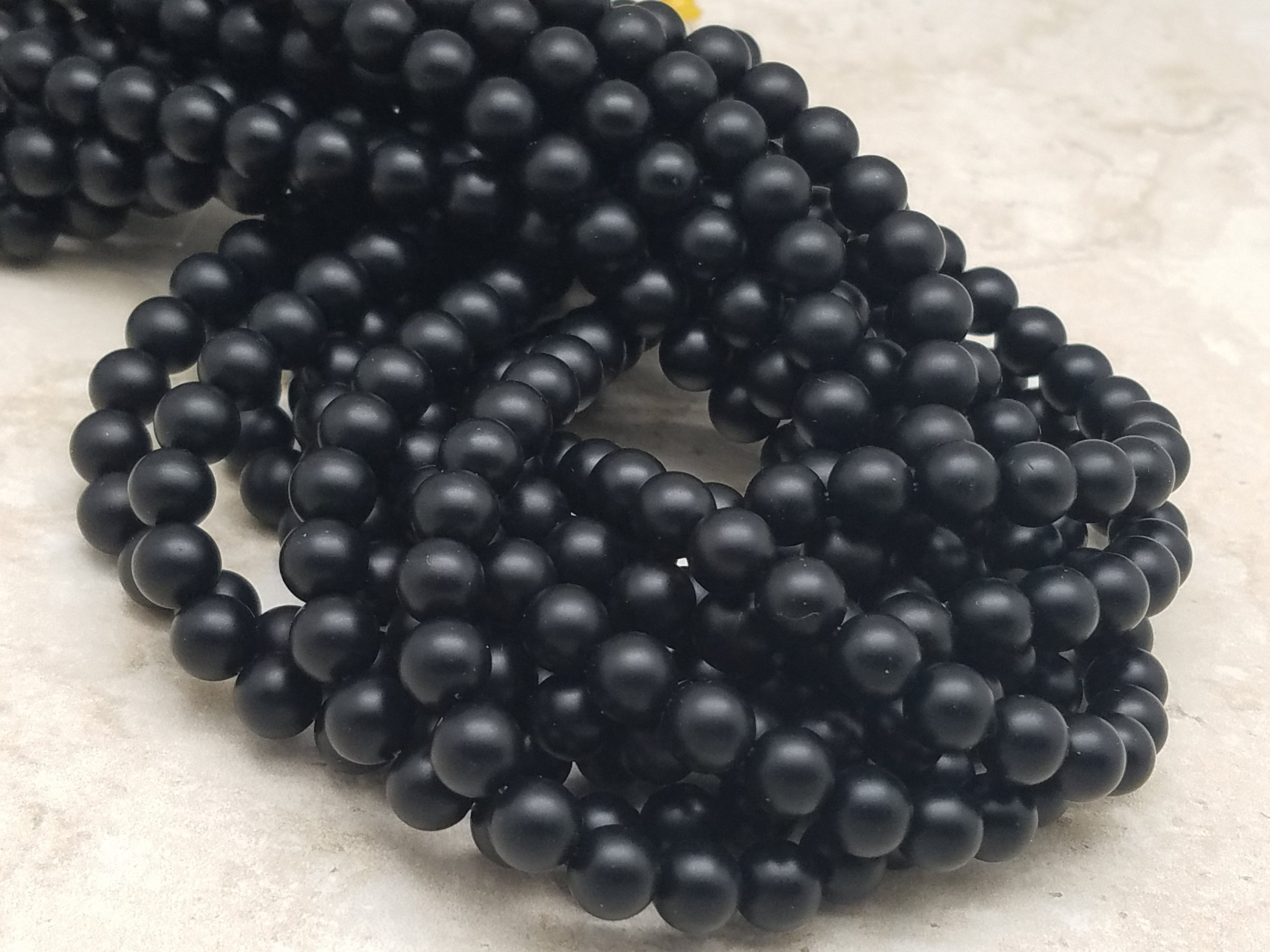 4mm or 6mm or 8mm Black Agate Matte Round Beads, 15 inch