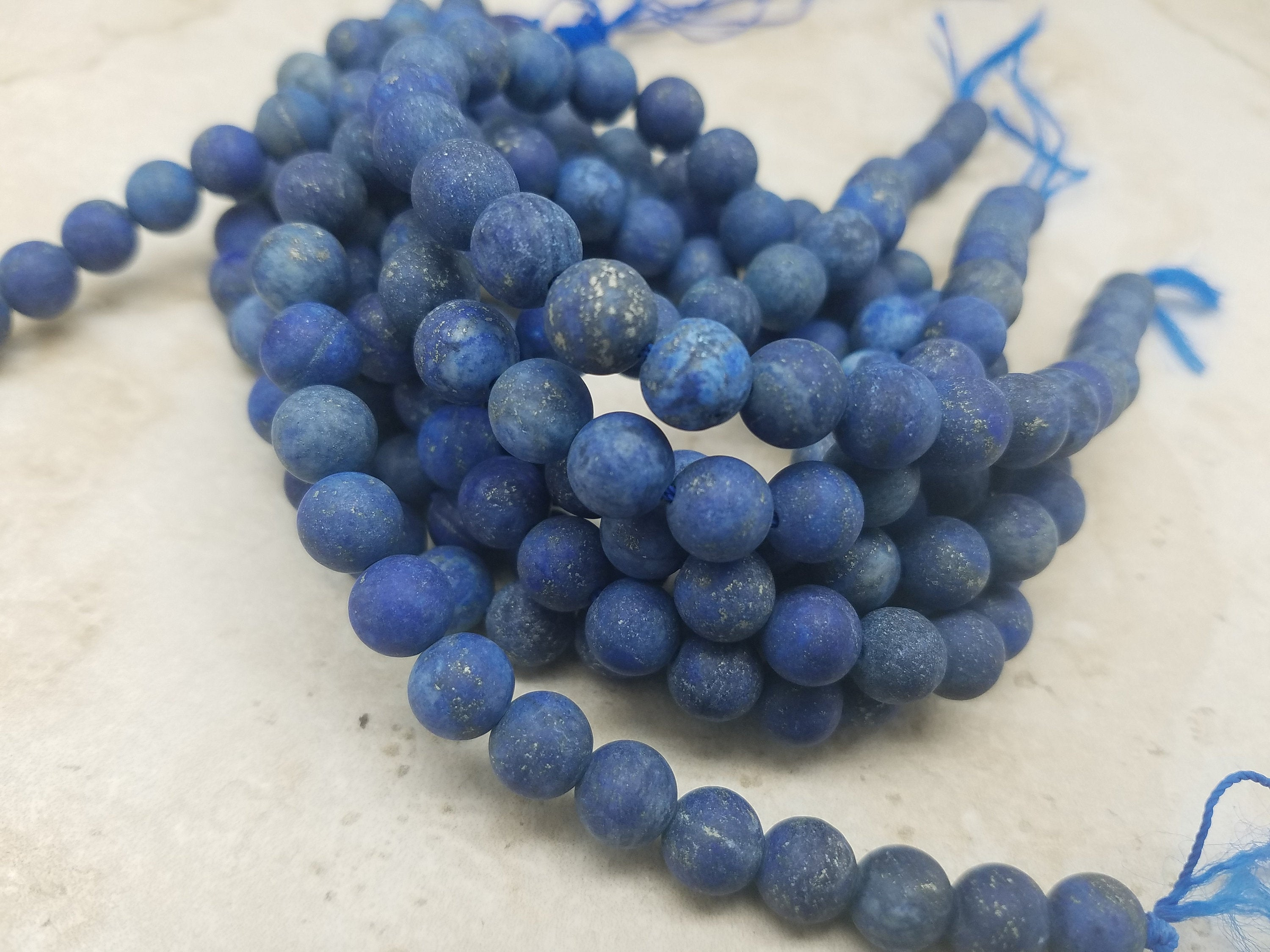 4mm or 6mm or 8mm Lapis Lazuli Matte Round Beads, 15 inch