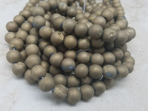 8mm or 10mm Gold Agate Matte Round Beads with Druzy Holes, 15 inch