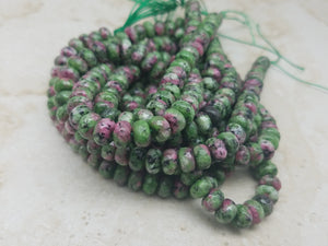 8mm Ruby Zoisite Faceted Rondelle Beads, 15 inch