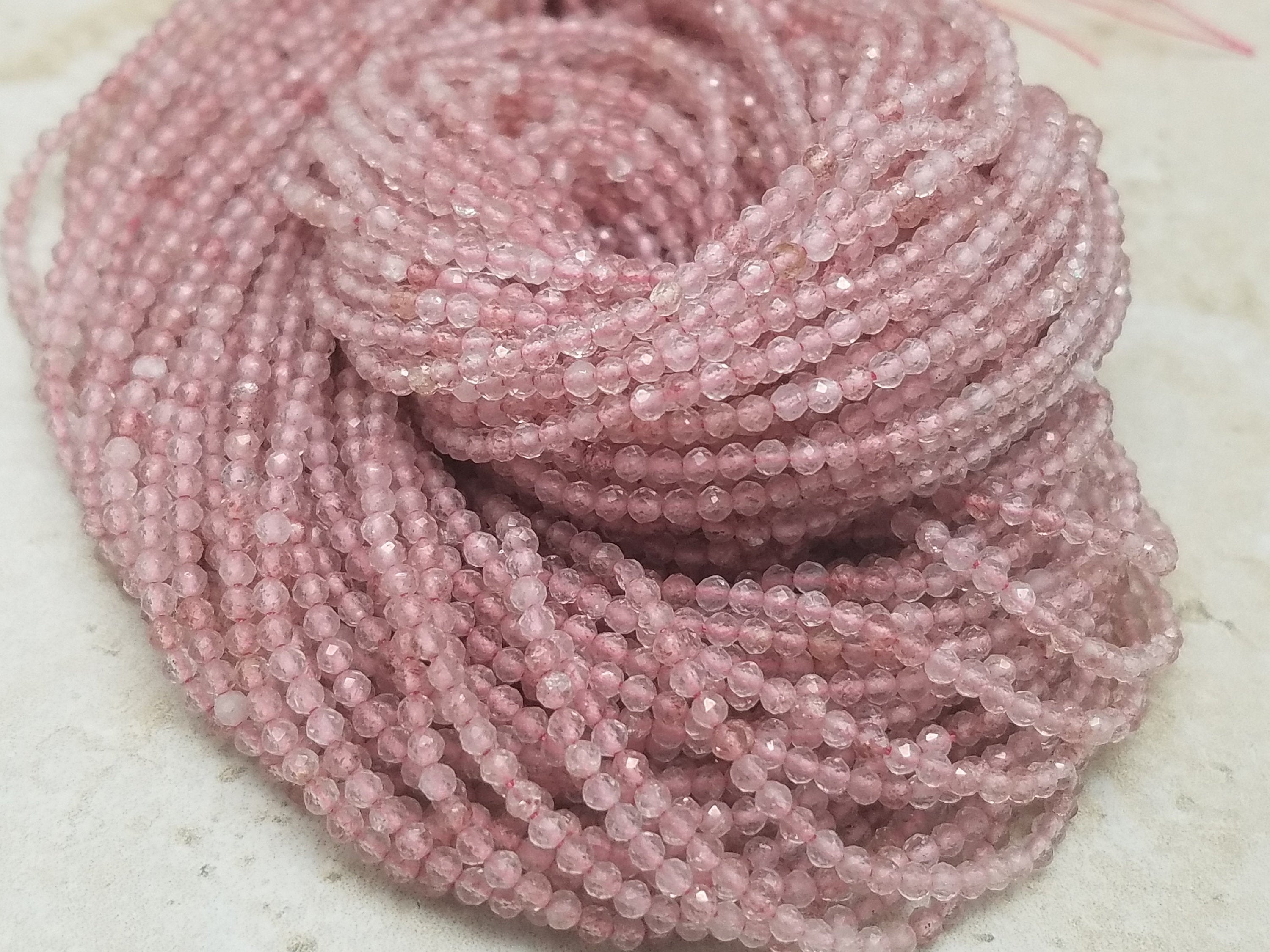 2mm Pink Strawberry Quartz Faceted Round Beads, 13 inch