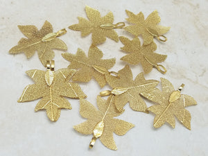 35mm Maple Leaf Gold Plated Brass Pendants