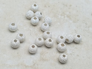 4mm or 5mm .925 Sterling Silver Stardust Round Balls, Bag of 20