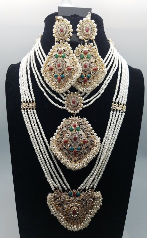 Pearl & Faux Ruby , Emerald Bridal Necklace with Earrings , Tikka