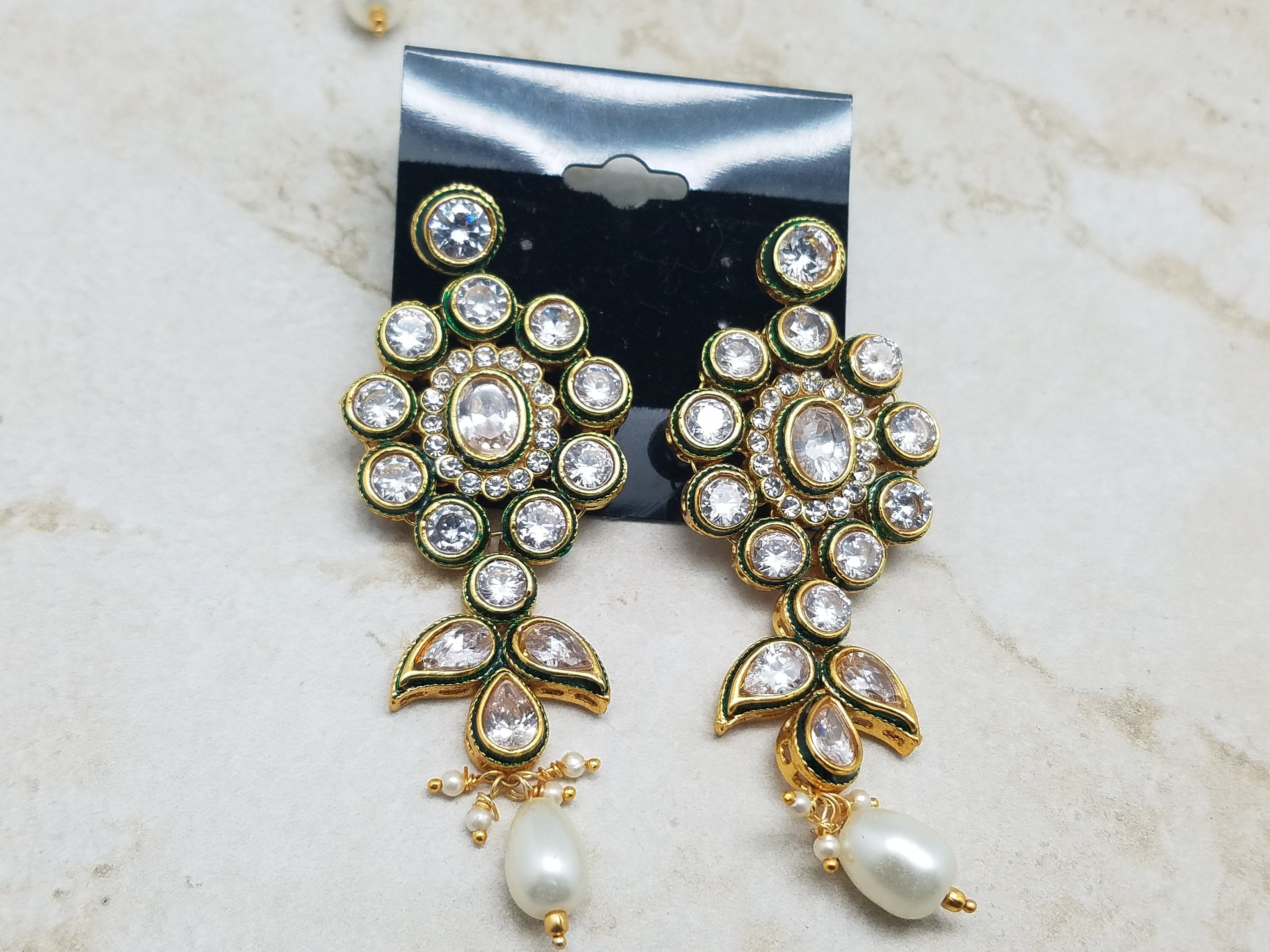 Bridal Faux White Pearl Kundan Polki Choker Necklace w/ Earrings & Tikka