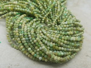2mm Green Opal Shaded Faceted Round Beads, 13 Inch Lot 1