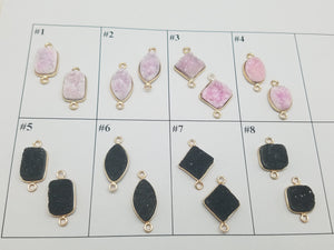 Pink & Black Druzy Double Loop Connector Pendants , Design 1 - 8