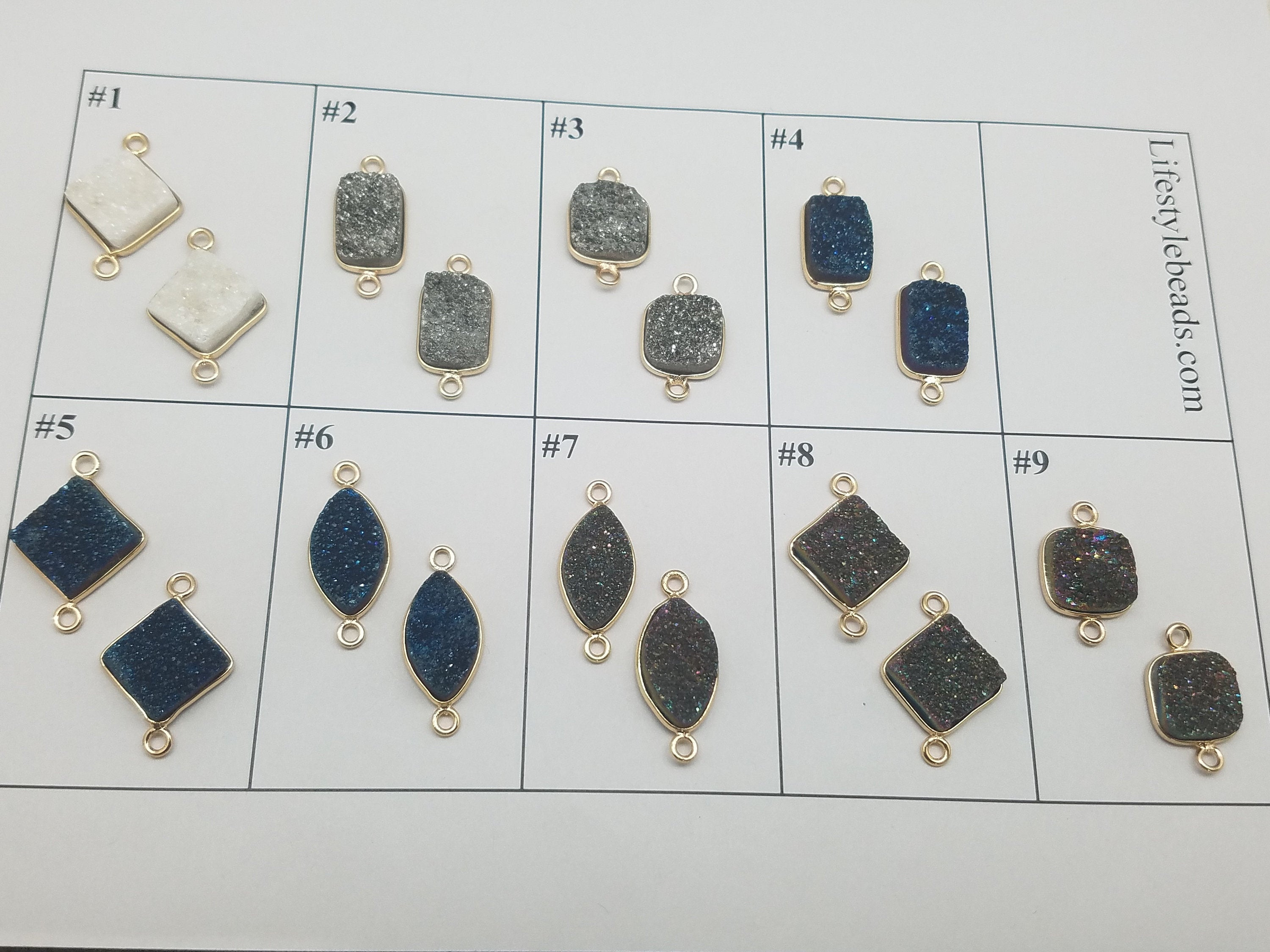 Druzy Double Loop Connector Pendants , Design 1 - 9
