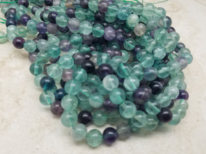 4mm or 6mm or 8mm Rainbow Fluorite Polished Round Beads, 15.5 inch