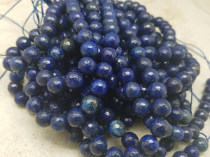 4mm or 6mm or 8mm Lapis Lazuli Faceted Round Beads, 15 inch