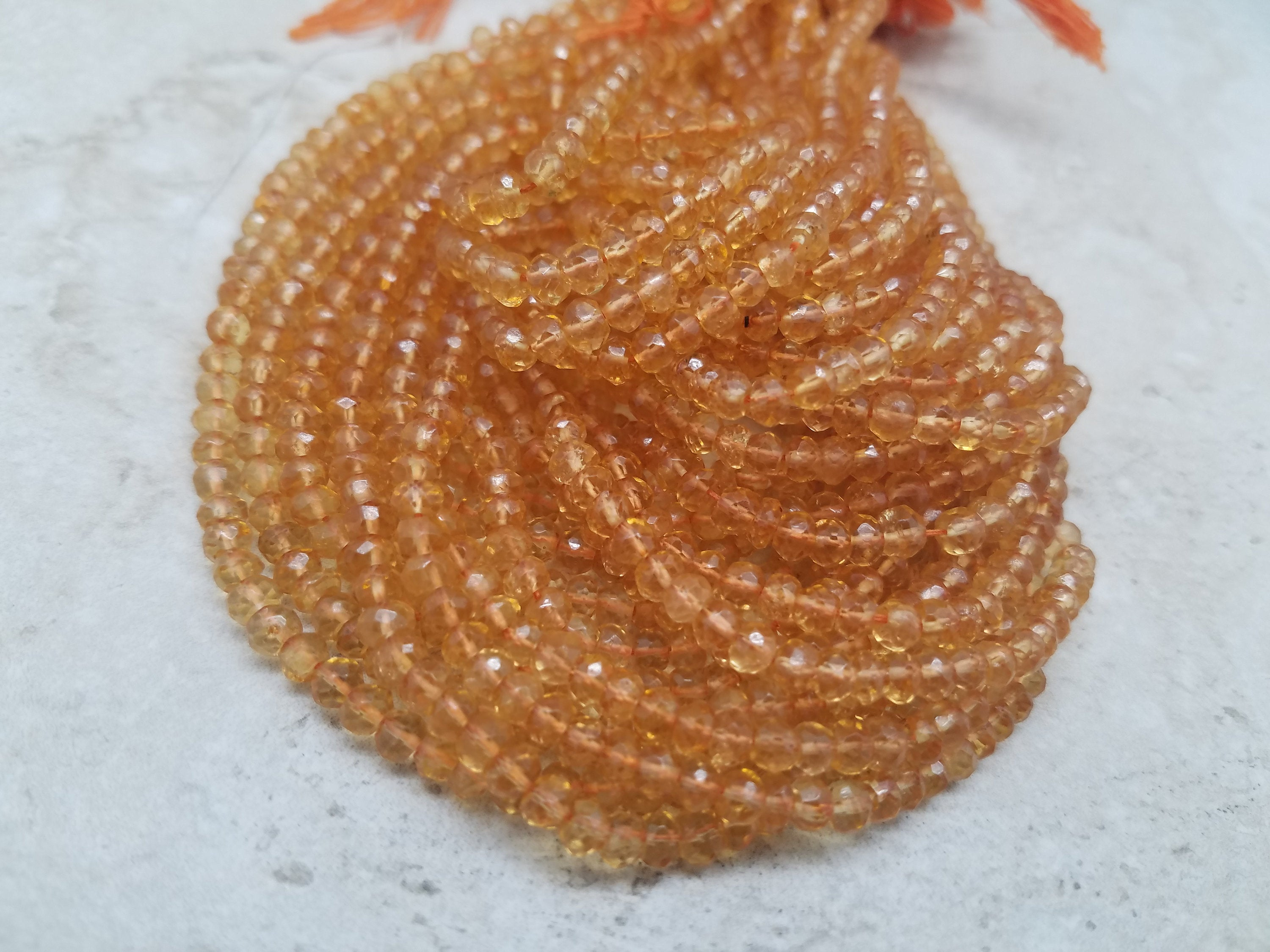 3mm to 3.25mm or 4mm to 4.25mm Honey Citrine Faceted Rondelles, 13 inch, Lot A