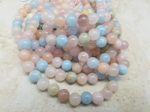 4mm or 6mm or 8mm Rainbow Morganite Polished Round Beads, 15.5 inch