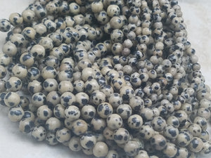 4mm or 6mm Dalmatian Jasper Polished Round Beads, 15.5 inch