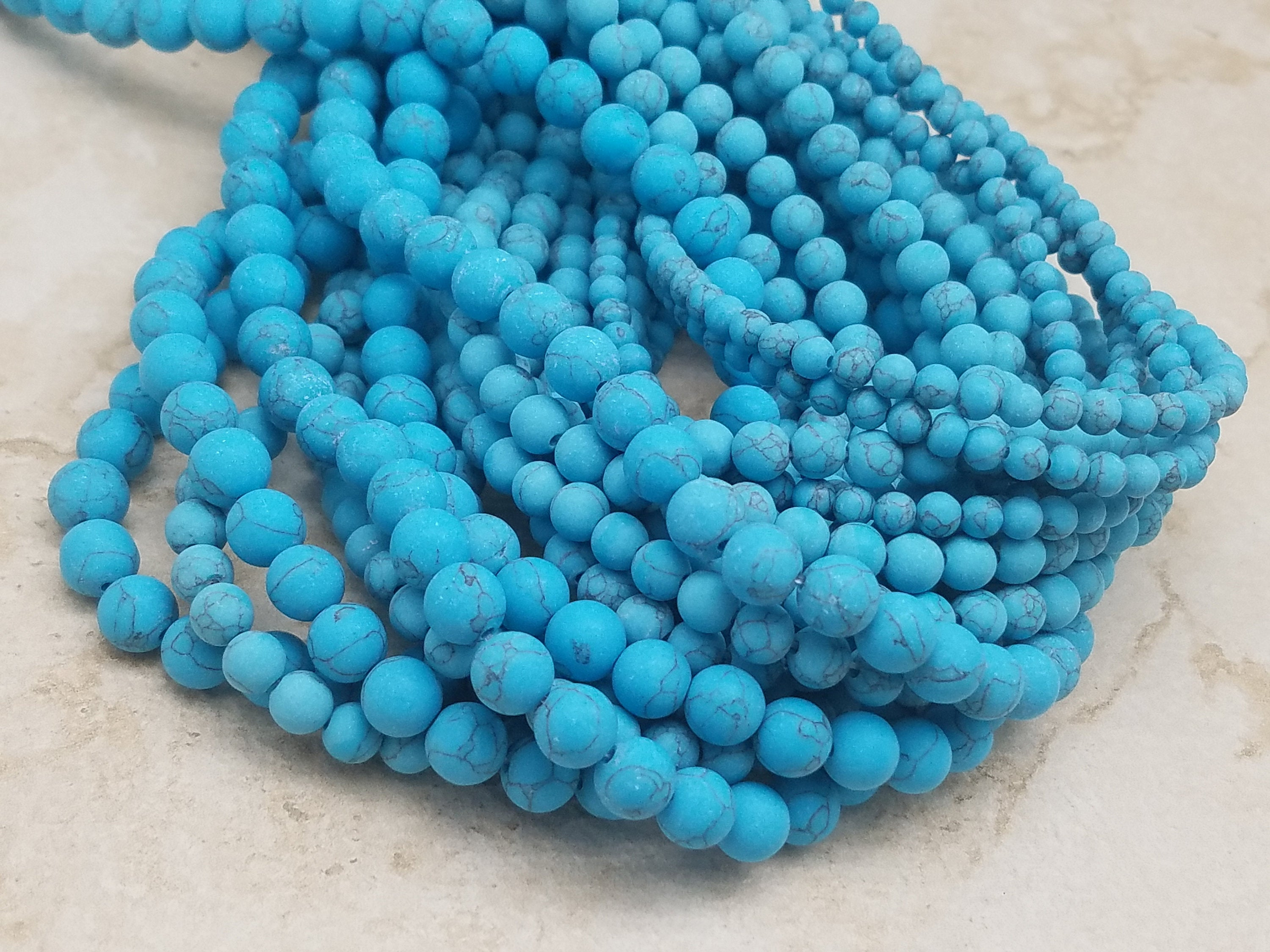 4mm or 6mm or 8mm Blue Turquoise Matte Round Beads, 15 inch
