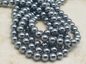 4mm or 6mm or 8mm Natural Terahertz Polished Round Beads, 15.5 inch