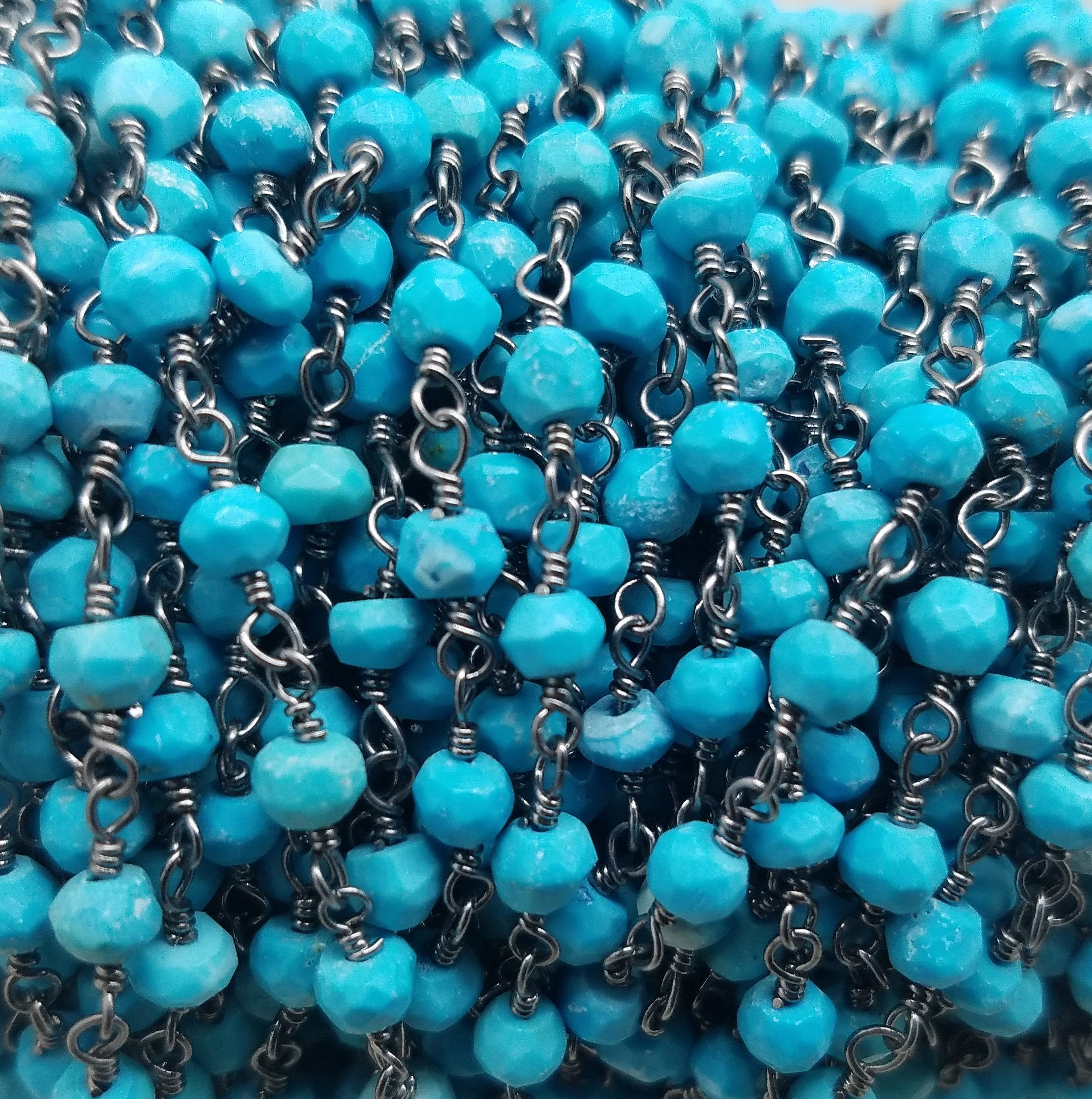 3 foot length of 3.5mm Turquoise Rosary Chain, Brass w/Silver or Black Rhodium Plating