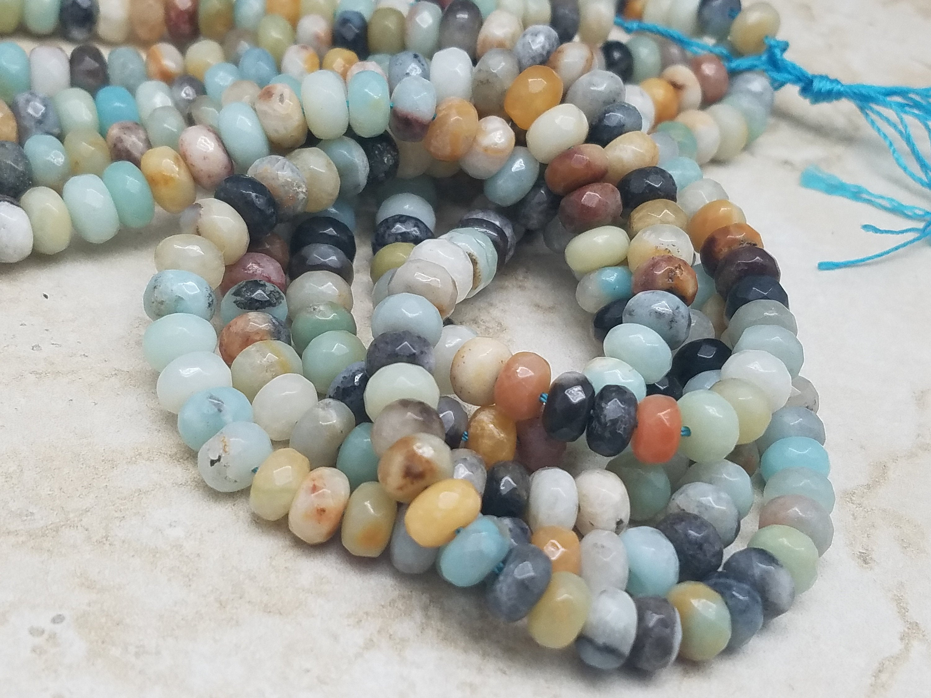 8mm x 5mm Mixed Amazonite Faceted Rondelle Beads, 15 inch
