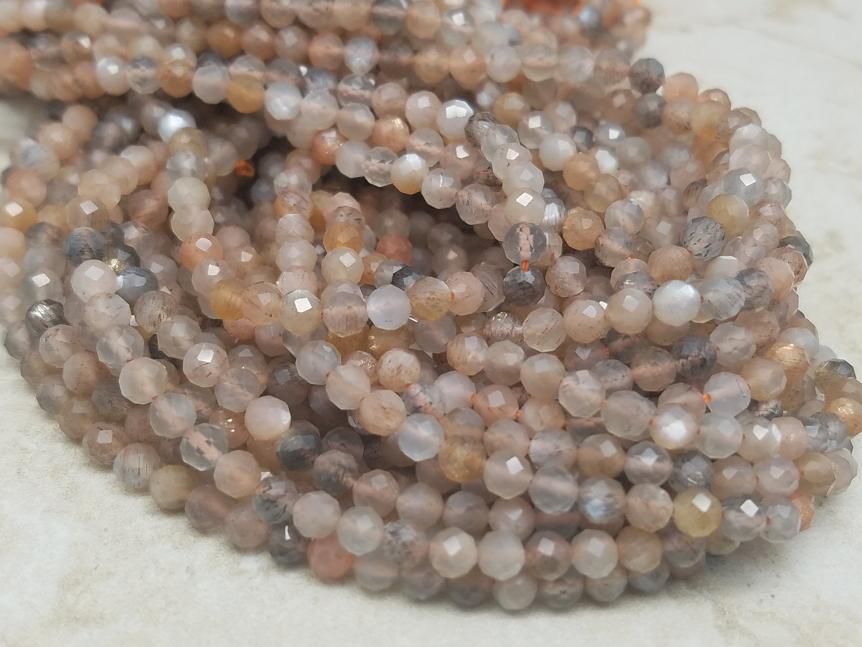 3mm or 4mm Peach and Gray Mixed Moonstone Faceted Round Beads, 15 inch