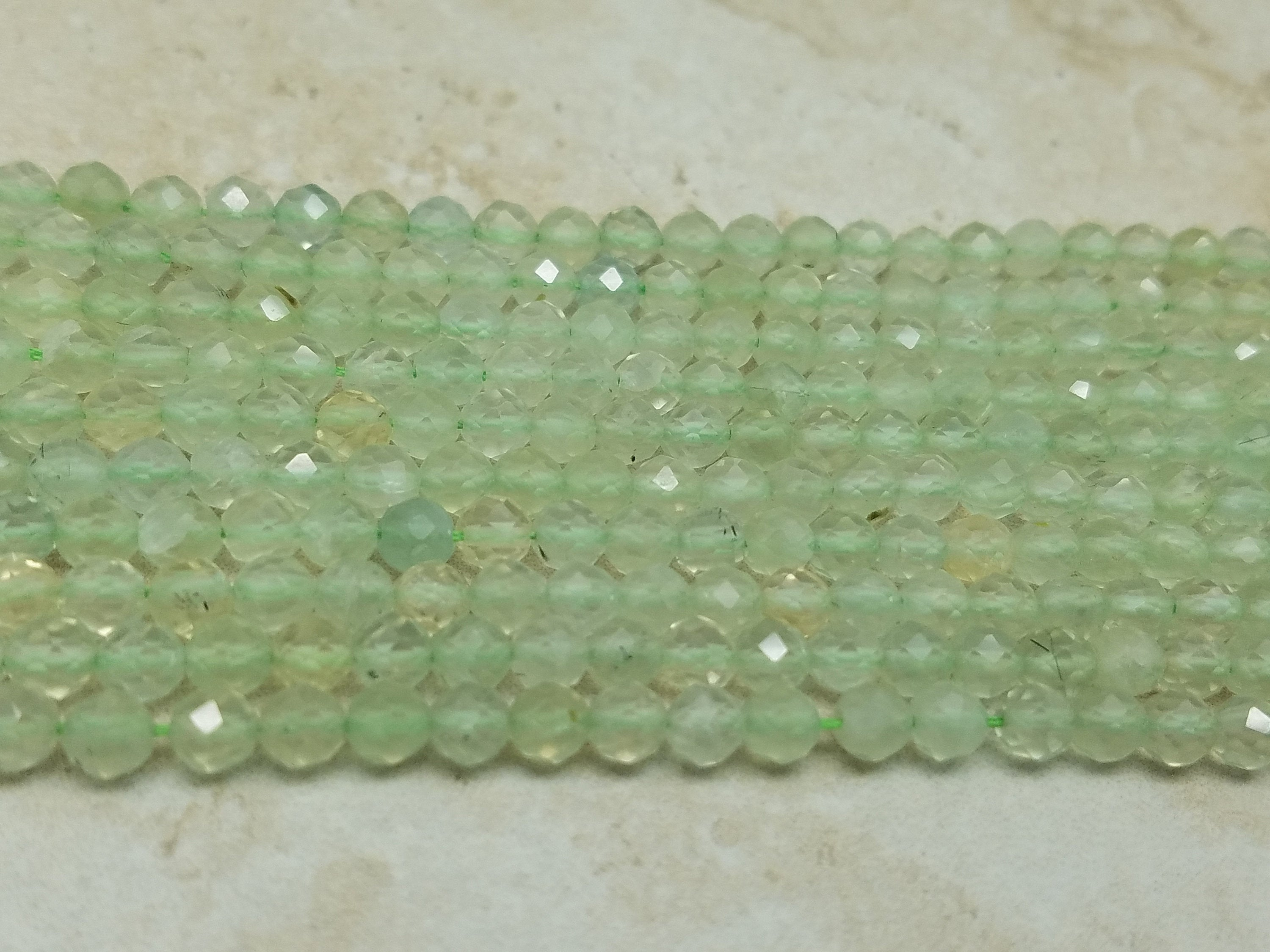 3mm or 4mm Prehnite Faceted Round Beads, 15 inch