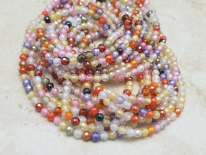 3mm Mixed Cubic Zirconia Faceted Round Beads , 15.25 inch