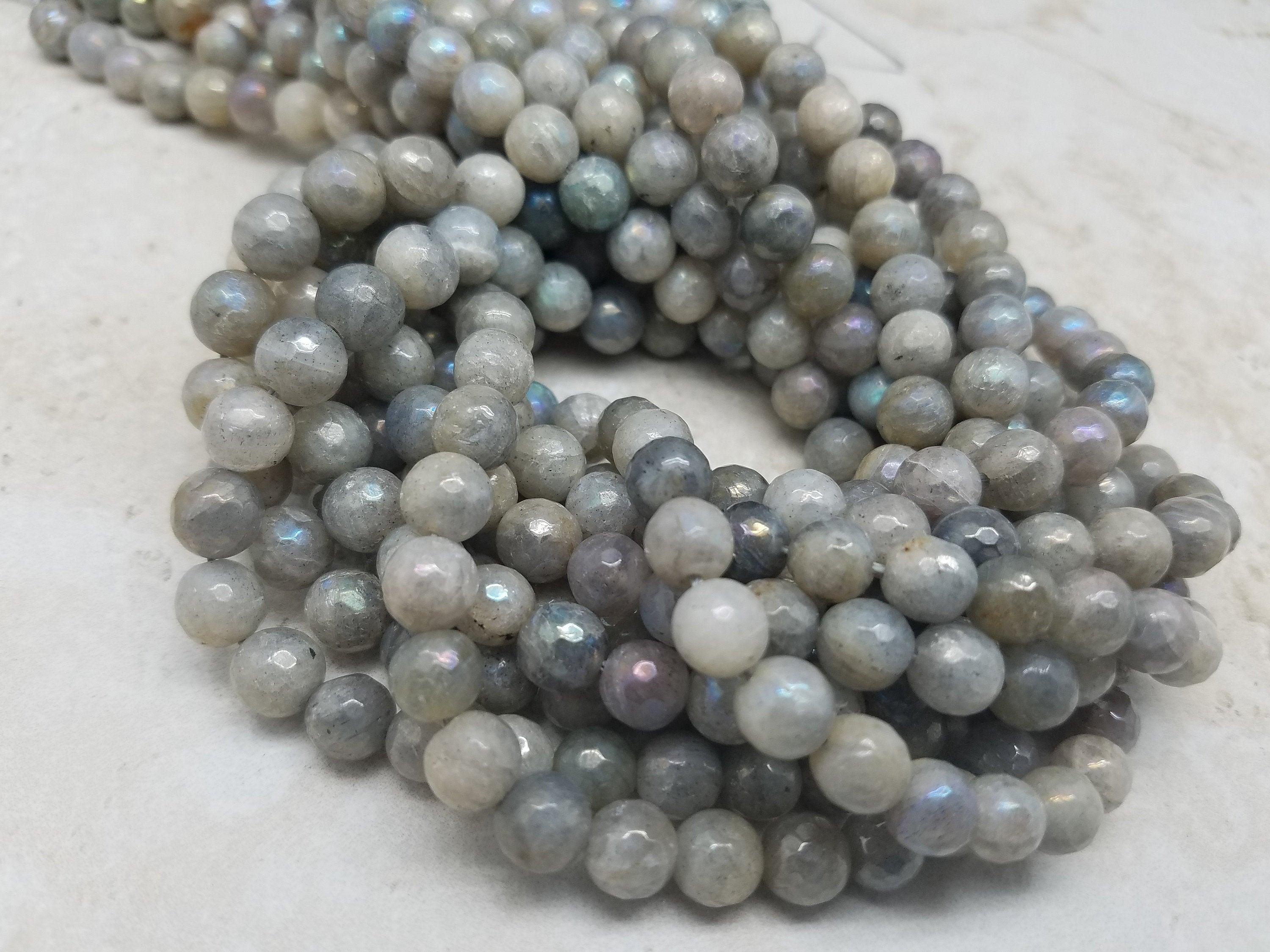 4mm or 6mm or 8mm Mystic Labradorite Faceted Rounds, 15 inch