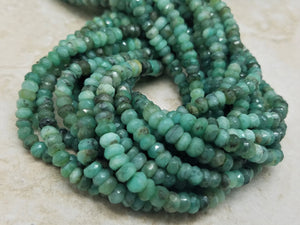 4.5 to 5mm Natural Shaded Emerald Faceted Rondelles, 13 inch