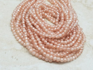 2mm or 3mm Peach Cubic Zirconia Faceted Round Beads, 15 inch