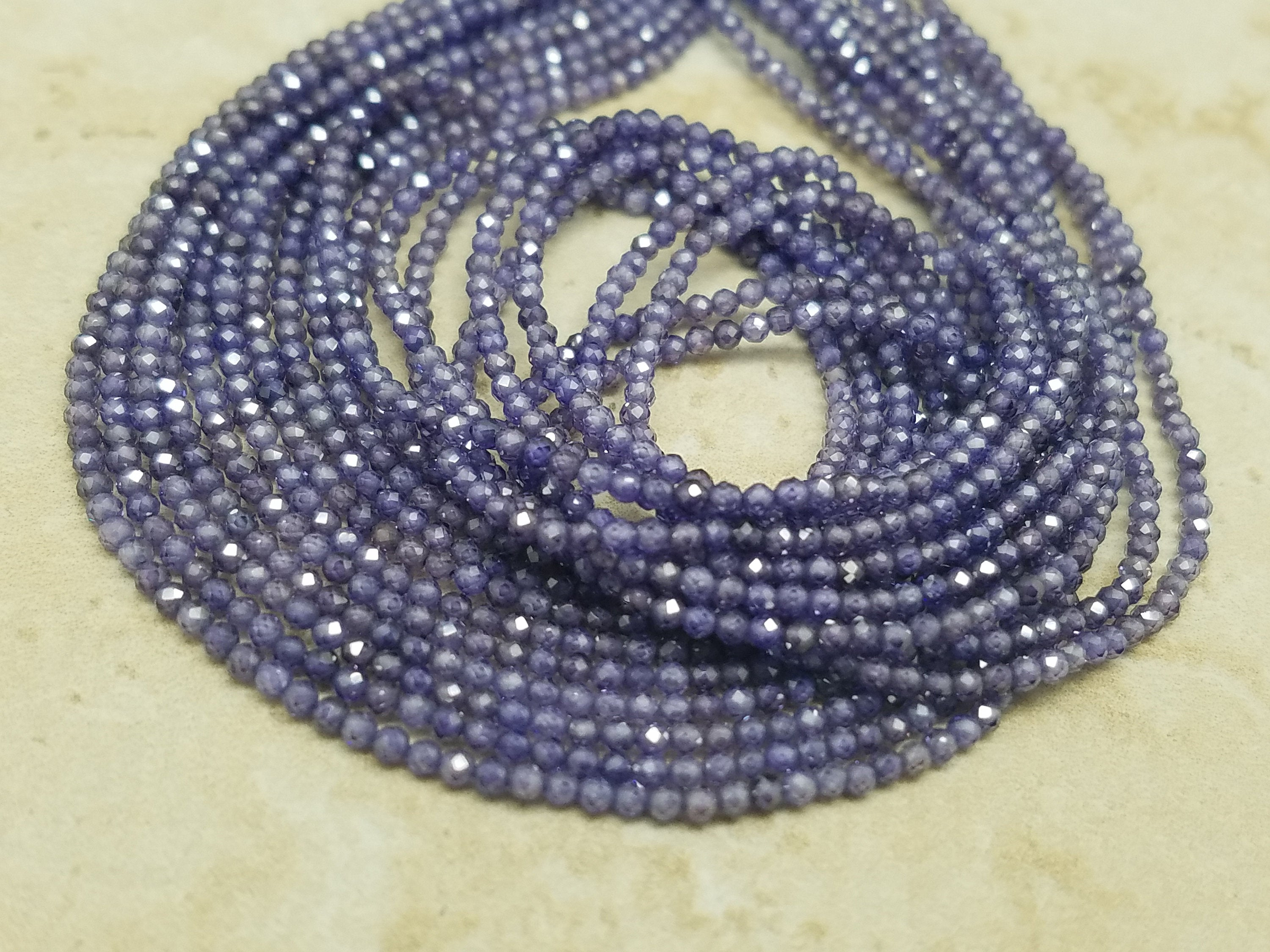 2mm or 3mm Amethyst Cubic Zirconia Faceted Round Beads, 15 inch