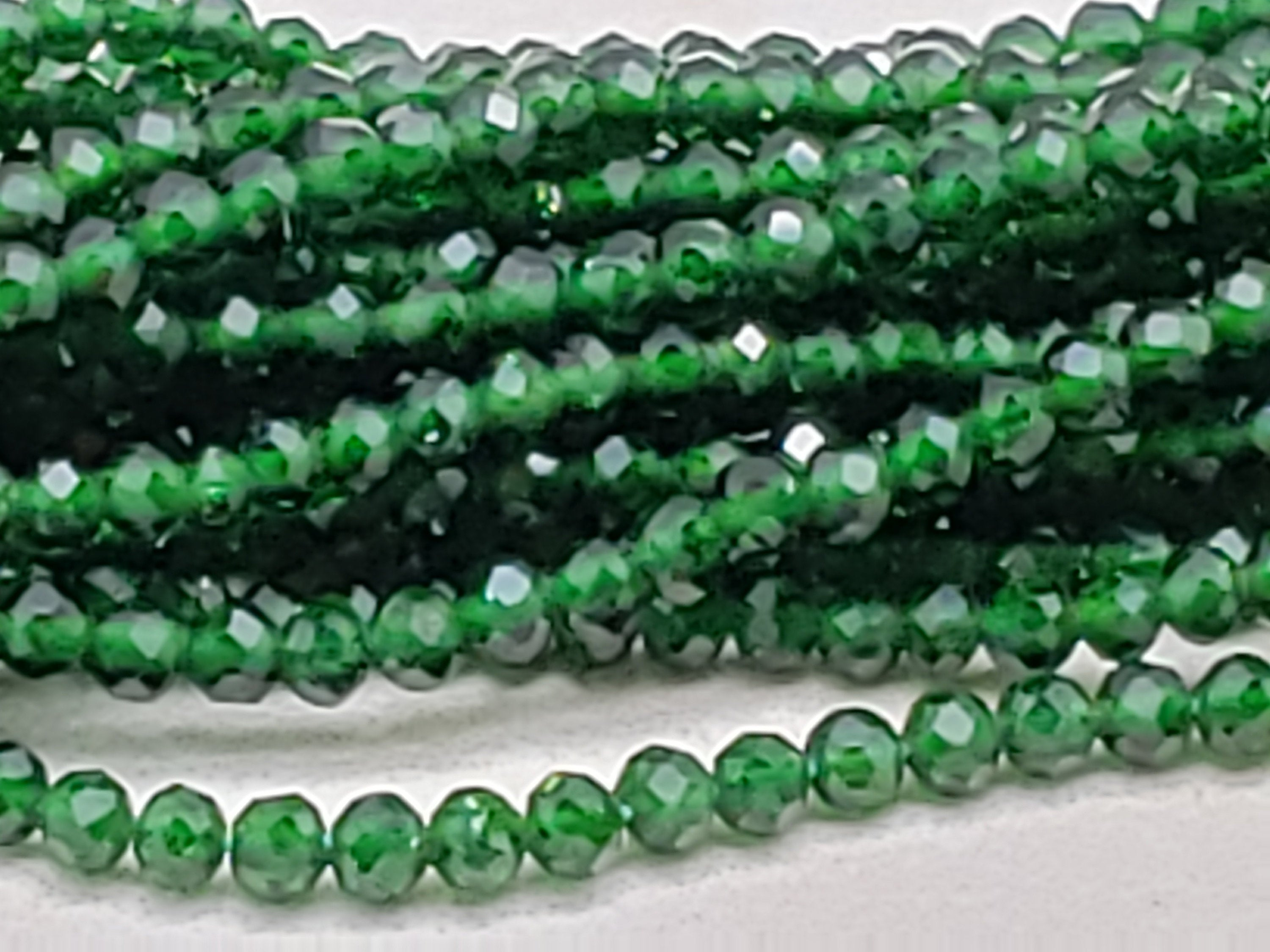 2mm or 3mm Green Sandstone Faceted Round Beads, 15 inch