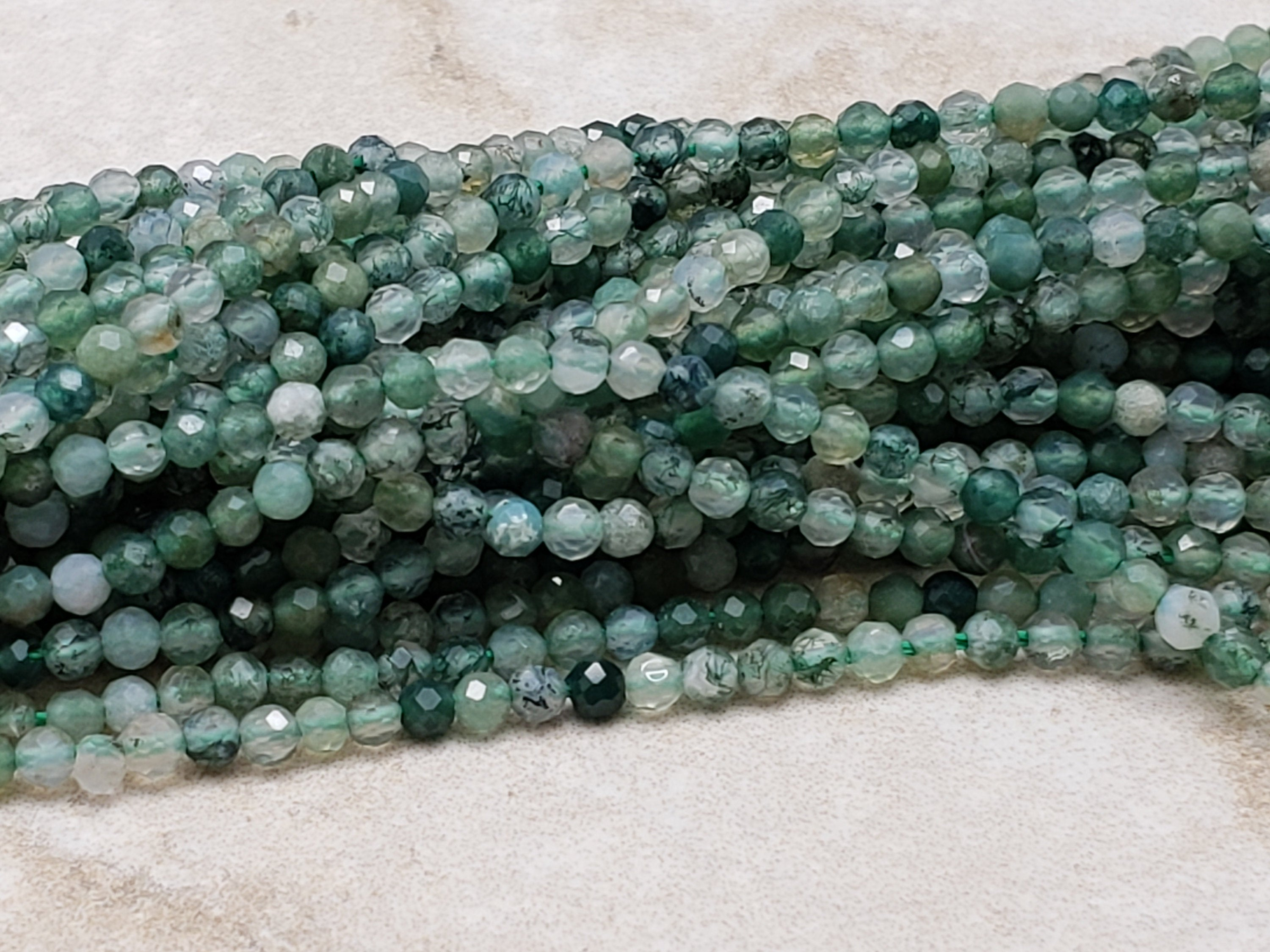 2mm Moss Agate Faceted Round Beads, 15 inch