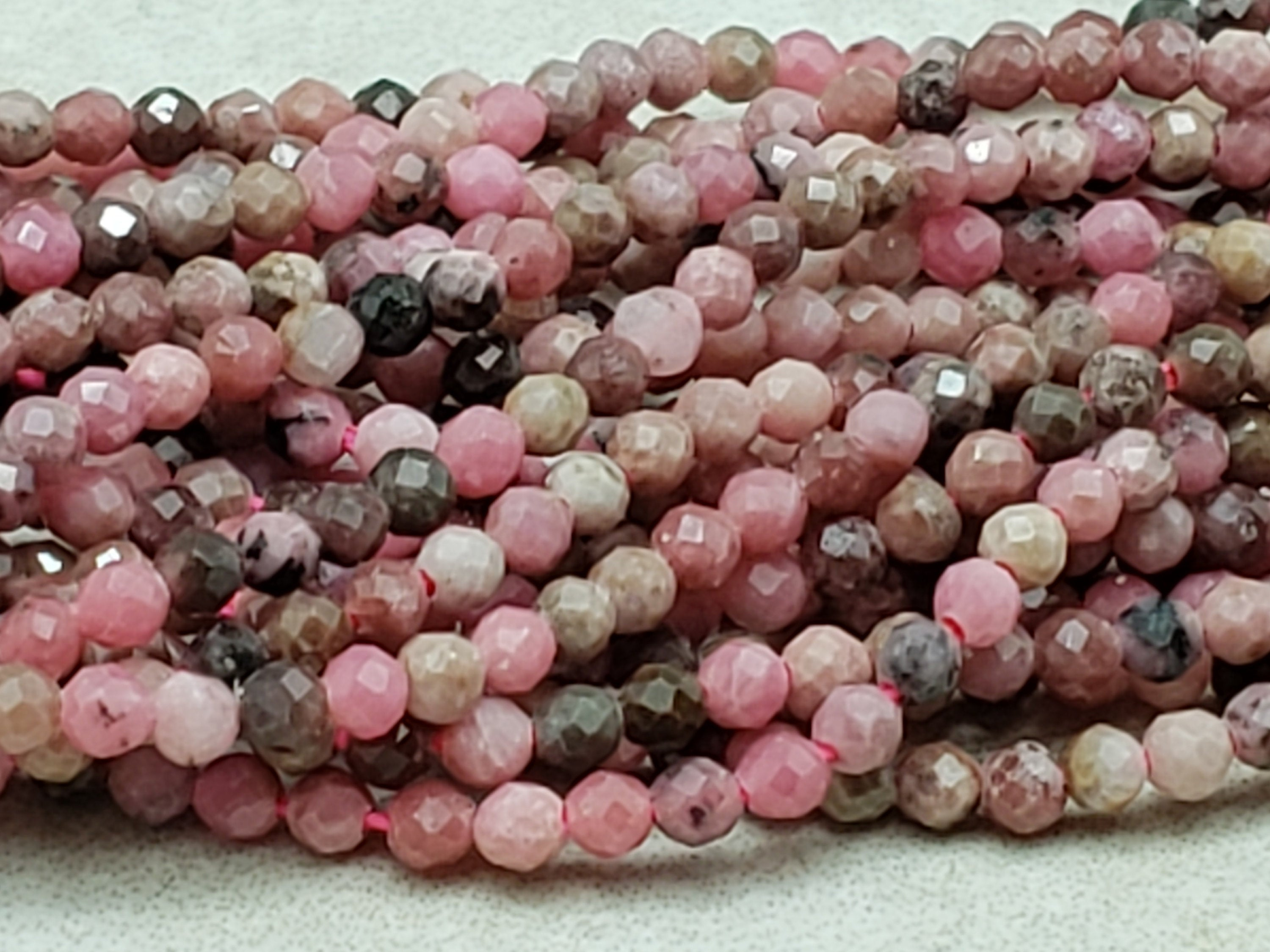 2mm or 3mm Rhodonite Faceted Round Beads, 15 inch