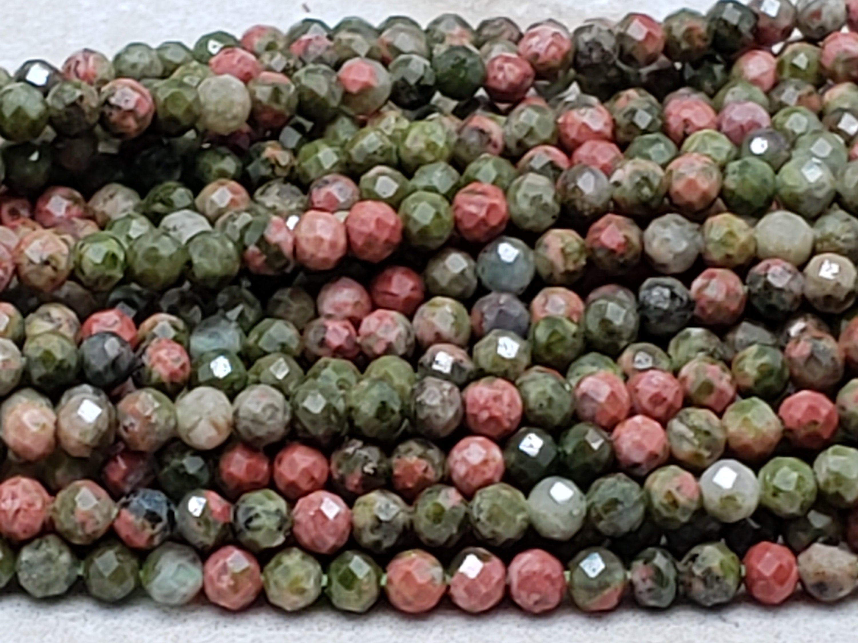 2mm Unakite Faceted Round Beads, 15 inch