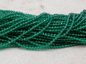 2mm Green Spinel Faceted Round Beads, 14.5 inch