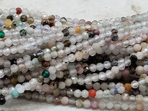 2mm Mixed Stone Faceted Round Beads, 14.5 inch