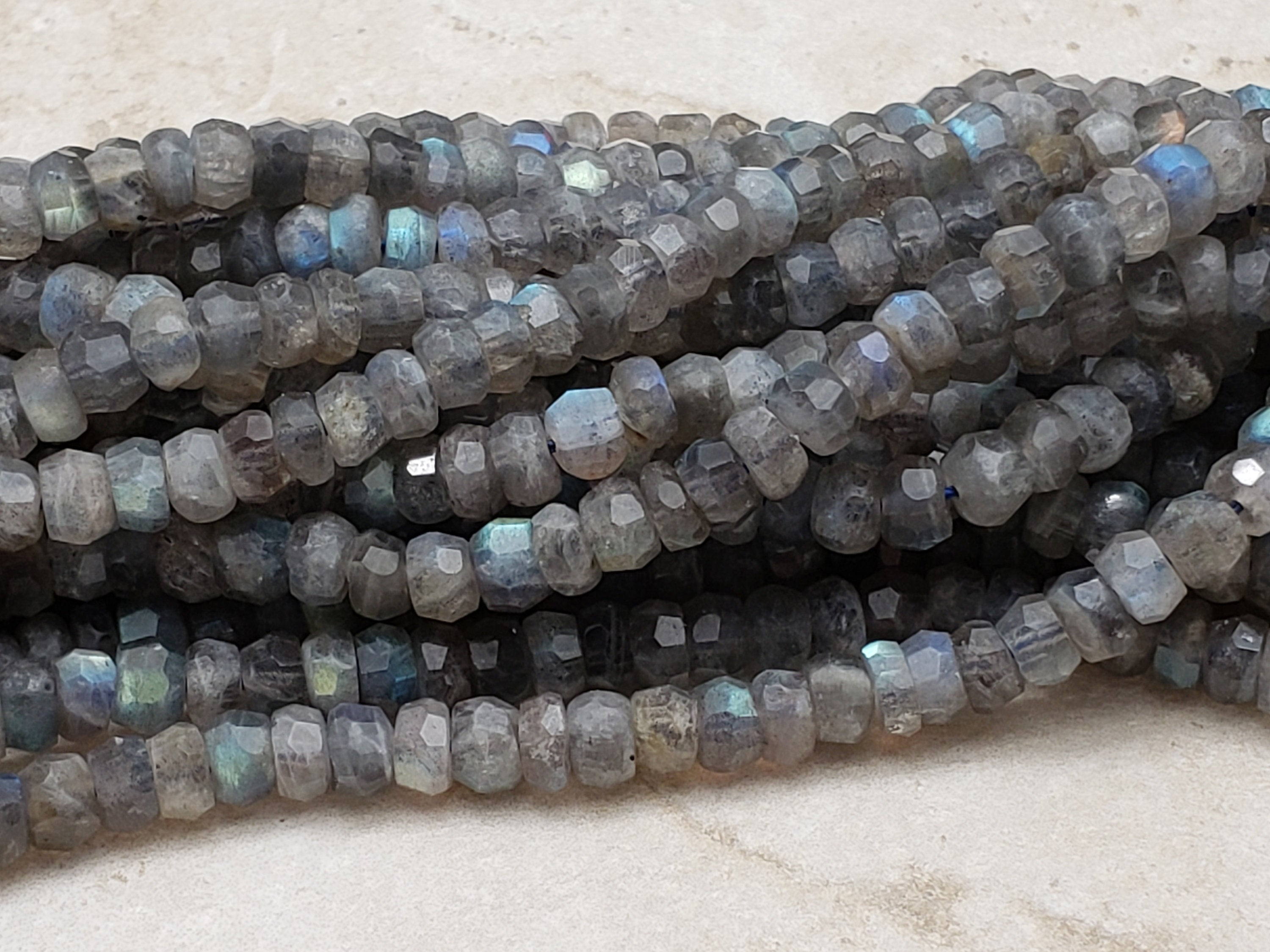 6mm to 6.5mm Labradorite Handcut Faceted Rondelles, 16 inch