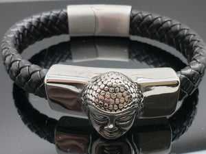 Buddha Bracelet, Stainless Steel Polished with 12mm Black Woven Leather Rope, 8 inches