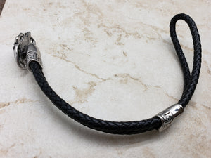Skull Bracelet, Stainless Steel Polished with twin 5mm Black Leather Woven Ropes, 8.5 inches