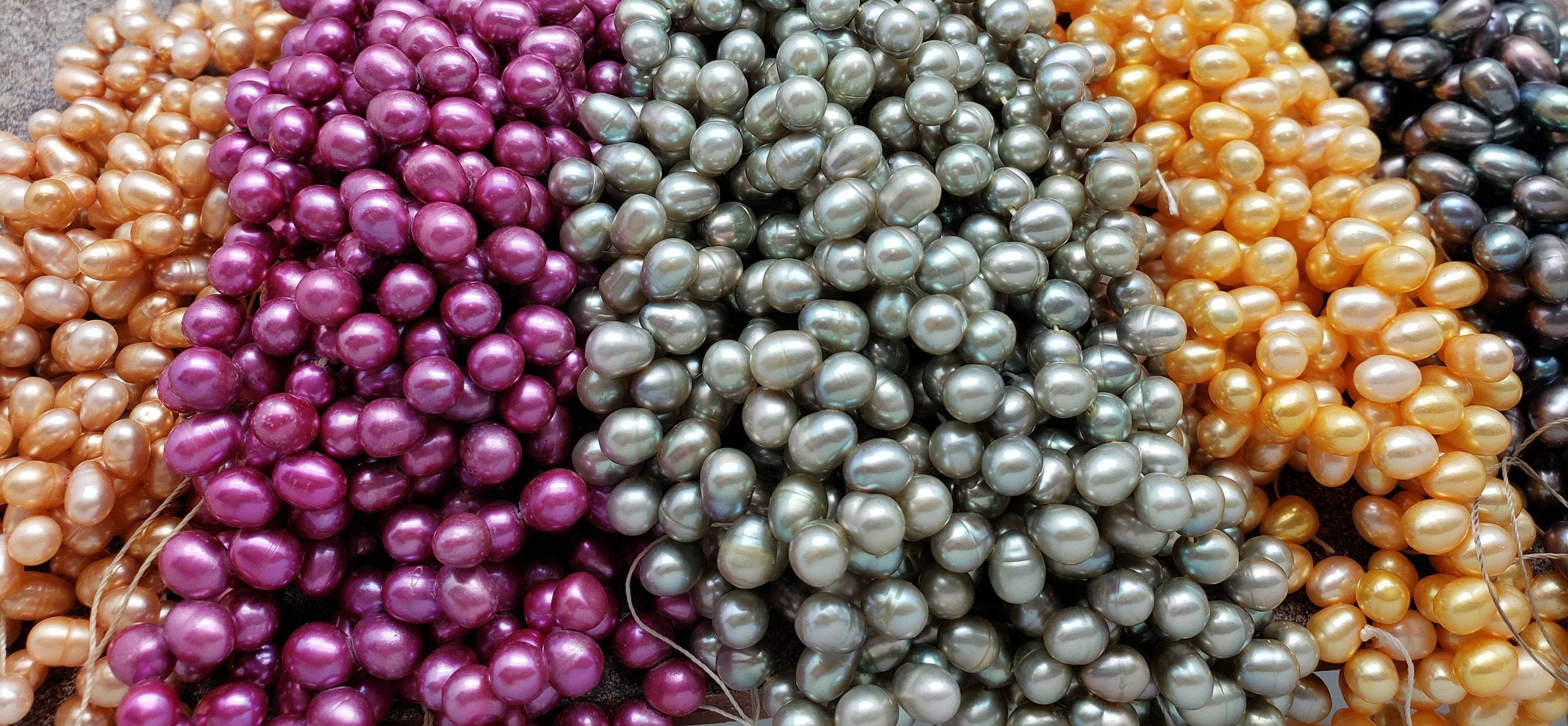 6mm by 4mm Pearls, Briolette Style, 15.5 inch strand